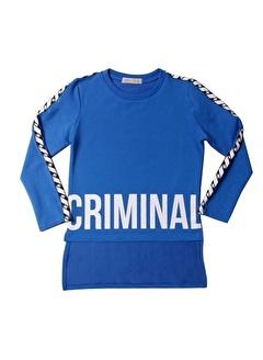 Toontoy Toontoy Criminal Baskılı İki Kolu Şeritli Kız Çocuk Tişört